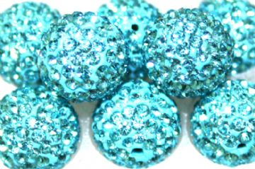 12mm Turquoise 130 Stone  - Pave Crystal Beads - Half Drilled  PCBHD12-130-007